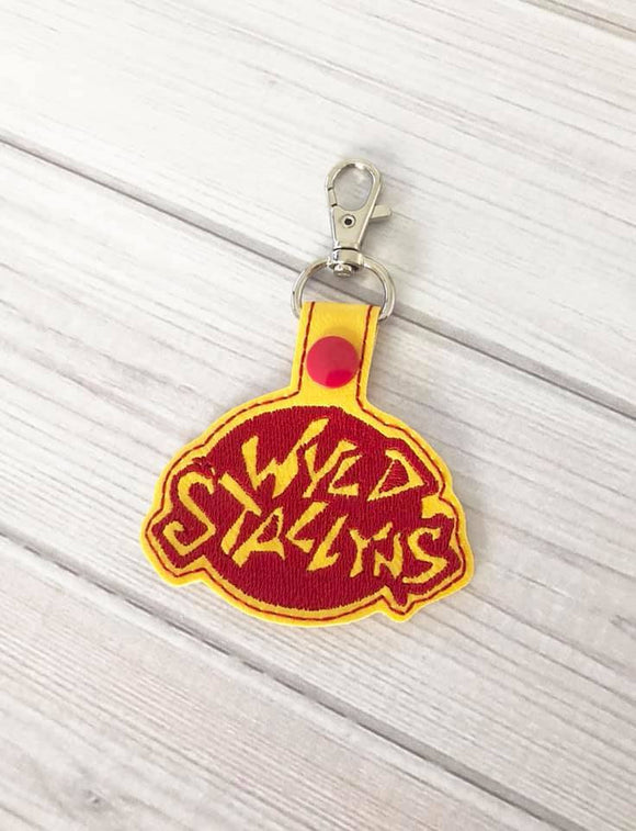 ITH Digital Embroidery Pattern for Bill & Teds Wyld Stallyns Snap Tab / Key Chain, 4x4 hoop