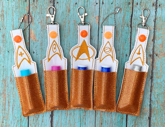 ITH Digital Embroidery Pattern for Set of 5 Treky Lip Balm Holders, 5x7 hoop