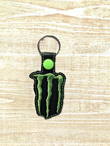 ITH Digital Embroidery Pattern for Monster Energy Snap Tab / Key Chain, 4x4 hoop