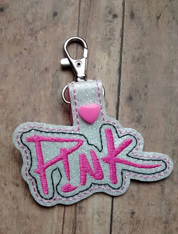 ITH Digital Embroidery Pattern for Pink Version 2 Snap Tab / Key Chain, 4X4 hoop