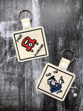 ITH Digital Embroidery Pattern for Monopoly Board Game Square Snap Tab Set of 4 / Key Chain, 4x4 hoop