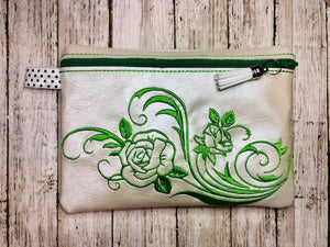 ITH Digital Embroidery Pattern for Rose Swirl Design Lined Zipper Bag, 5X7 hoop