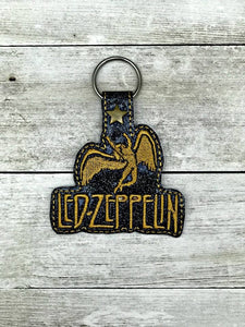 ITH Digital Embroidery Pattern for Led Zeppelin, Swan Song Snap Tab / Key Chain, 4x4 hoop