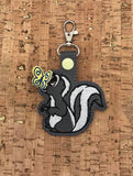 ITH Digital Embroidery Pattern for Skunk with 3D Butterfly on Nose Snap Tab / Key Chain, 4x4 hoop