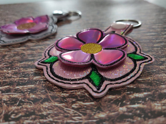 ITH Digital Embroidery Pattern for 3D Flower 2 Snap Tab / Key Chain, 4x4 hoop