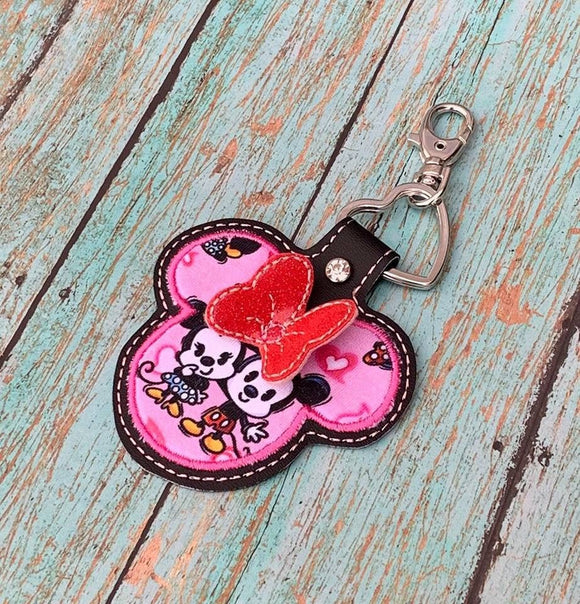 ITH Digital Embroidery Pattern for 3D Ms Mouse Applique with Bow Snap Tab / Key Chain, 4x4 hoop
