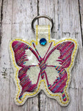 ITH Digital Embroidery Pattern for Butterfly Silhouette Snap Tab / Key Chain, 4x4 hoop