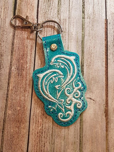 ITH Digital Embroidery Pattern for Double Dolphin On Wave Snap Tab / Key Chain, 4x4 hoop