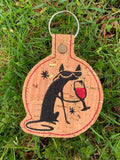 ITH Digital Embroidery Pattern for Wine Cool Cat Snap Tab / Key Chain, 4x4 hoop