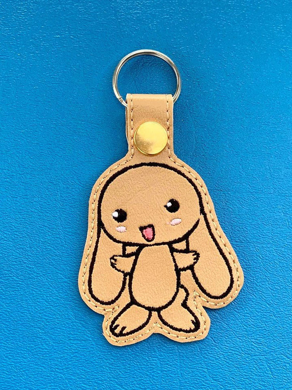 ITH Digital Embroidery Pattern for Lil Floppy Ear Bunny Snap Tab / Key Chain, 4x4 hoop