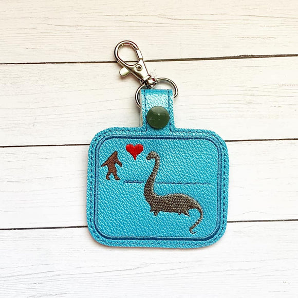 ITH Digital Embroidery Pattern for Big Foot Heart Nessy Snap Tab / Key Chain, 4x4 hoop