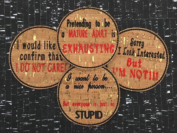 ITH Digital Embroidery Pattern for Set of 4 Snarky Saying Coasters, 4x4 hoop
