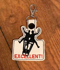 ITH Digital Embroidery Pattern for Bill & Ted on Phone Booth Excellent! Snap Tab / Key Chain, 4x4 hoop