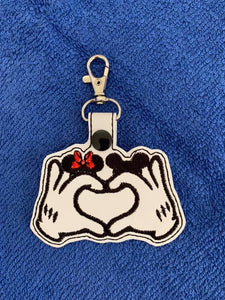 ITH Digital Embroidery Pattern for Heart Gloves with Mouse Hats Snap Tab / Key Chain, 4x4 hoop