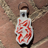 ITH Digital Embroidery Pattern for Tribal Fox Snap Tab / Key Chain, 4x4 hoop