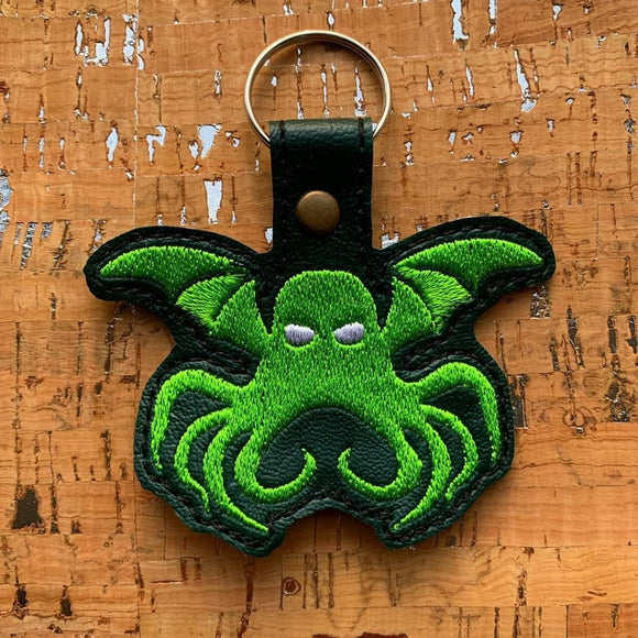 ITH Digital Embroidery Pattern for Cthulhu Snap Tab / Key Chain, 4x4 hoop
