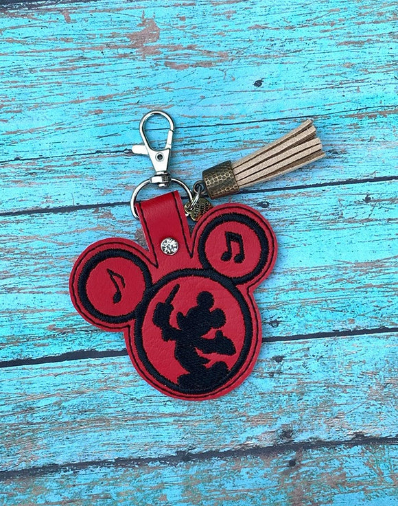 ITH Digital Embroidery Pattern for Mr Mouse Conductor Snap Tab / Key Chain, 4x4 hoop