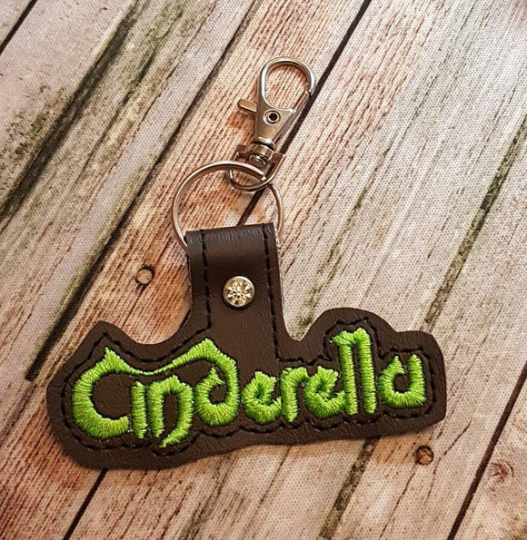 ITH Digital Embroidery Pattern for Cinderella Band Snap Tab / Key Chain, 4x4 hoop