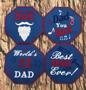 ITH Digital Embroidery Pattern for Set of 4 Fathers Day Coasters, 4x4 hoop