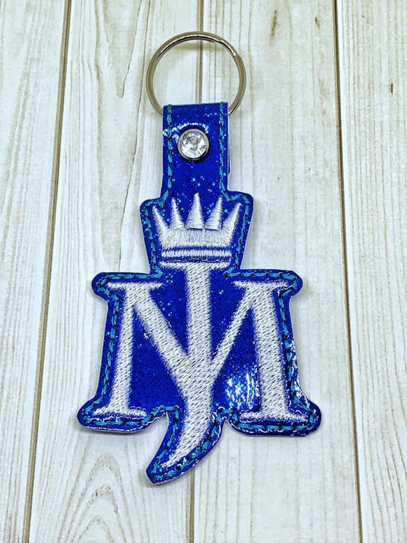 ITH Digital Embroidery Pattern for MJ with Crown Snap Tab / Key Chain, 4x4 hoop