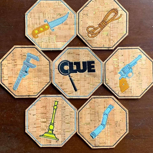 ITH Digital Embroidery Pattern for Clue Board Game Coaster Set of 7, 4x4 hoop