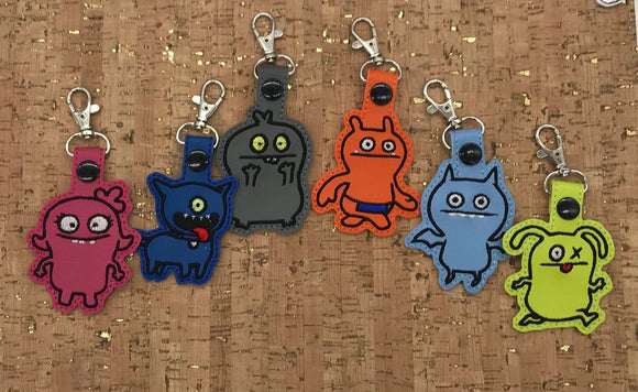 ITH Digital Embroidery Pattern for Ugly Dolls Outline Version Set of 6 Snap Tab / Key Chain, 4x4 hoop