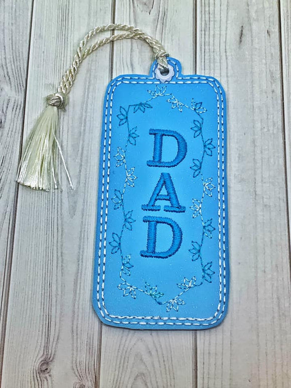 ITH Digital Embroidery Pattern for DAD Tir Leaf Motif Bookmark, 4x4 hoop