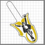 ITH Digital Embroidery Pattern for MJ with Silhouette Snap Tab / Key Chain, 4x4 hoop