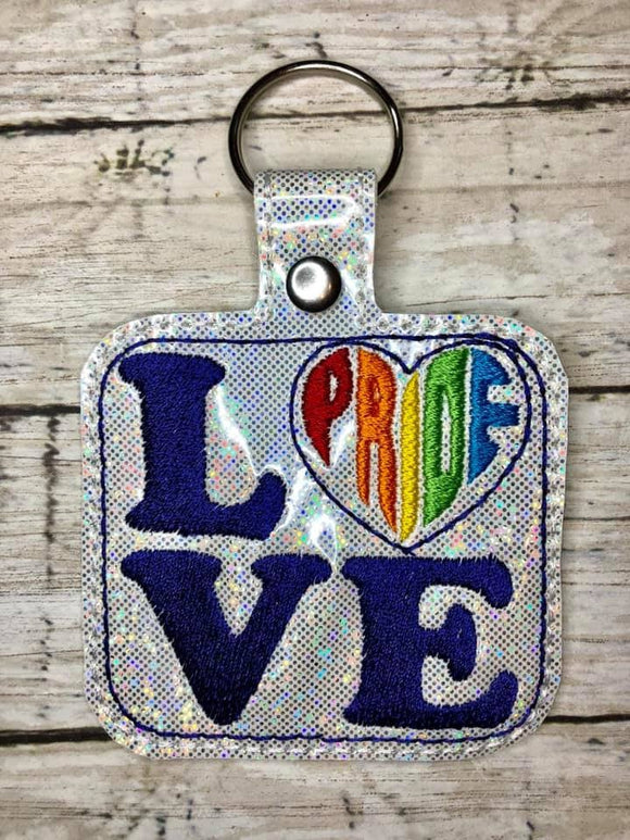 ITH Digital Embroidery Pattern for PRIDE Heart LOVE Snap Tab / Key Chain, 4x4 hoop