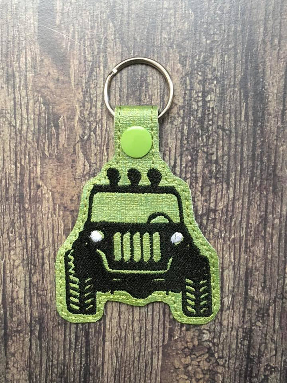 ITH Digital Embroidery Pattern for JEEP Front Silhouette Snap Tab / Key Chain, 4x4 hoop