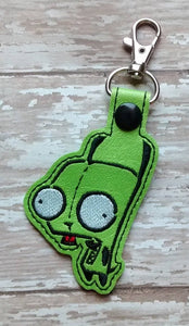 ITH Digital Embroidery Pattern for GIR from Invader Zim Snap Tab / Key Chain, 4x4 hoop