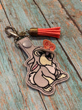 ITH Digital Embroidery Pattern for Rabbit With 3D Butterfly on Nose Snap Tab / Key Chain, 4x4 hoop