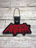 ITH Digital Embroidery Pattern for Anthrax Band Snap Tab / Key Chain, 4x4 hoop