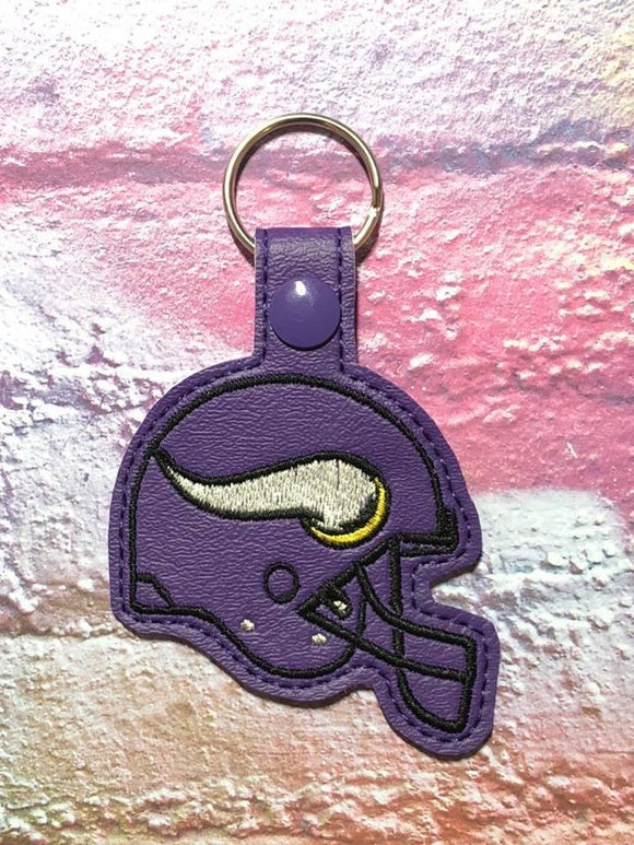 ITH Digital Embroidery Pattern for MN Viking Helmet Snap Tab / Key Chain, 4x4 hoop