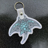 ITH Digital Embroidery Pattern for Tribal Manta-ray with Turtle  Snap Tab / Key Chain, 4x4 hoop