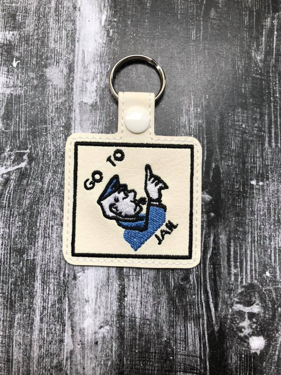 ITH Digital Embroidery Pattern for Monopoly Go To Jail Snap Tab / Key Chain, 4x4 hoop