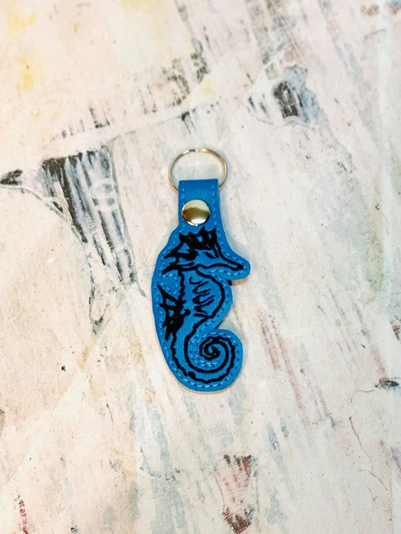 ITH Digital Embroidery Pattern for Seahorse Outline Snap Tab / Key Chain, 4x4 hoop