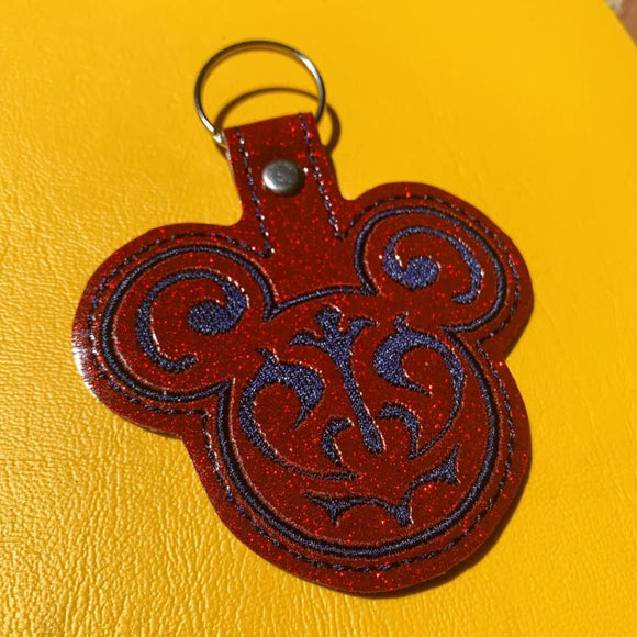 ITH Digital Embroidery Pattern for Filigree Mr Mouse 1 Snap Tab / Key Chain, 4x4 hoop