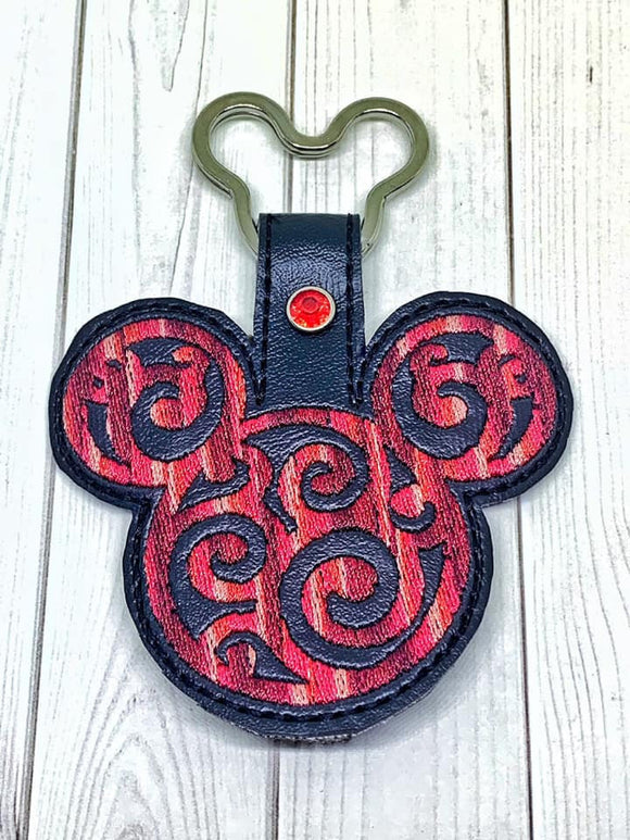 ITH Digital Embroidery Pattern for Mr Mouse Filigree 2 Snap Tab / Key Chain, 4x4 hoop