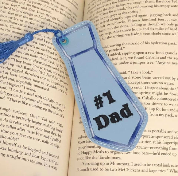 ITH Digital Embroidery Pattern for #1 Dad Tie Shape Bookmark, 4x4 hoop