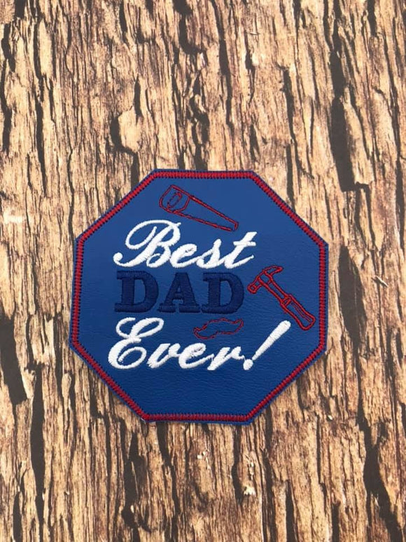 ITH Digital Embroidery Pattern for Best Dad Ever Coaster, 4x4 hoop