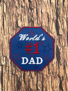 ITH Digital Embroidery Pattern for World's #1 Dad Coaster, 4x4 hoop