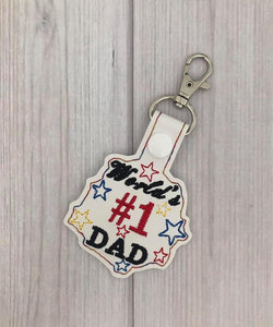 ITH Digital Embroidery Pattern for World's #1 Dad Snap Tab / Key Chain, 4x4 hoop