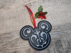 ITH Digital Embroidery Pattern for Filigree 1 Mr Mouse Head Ornament, 4x4 hoop