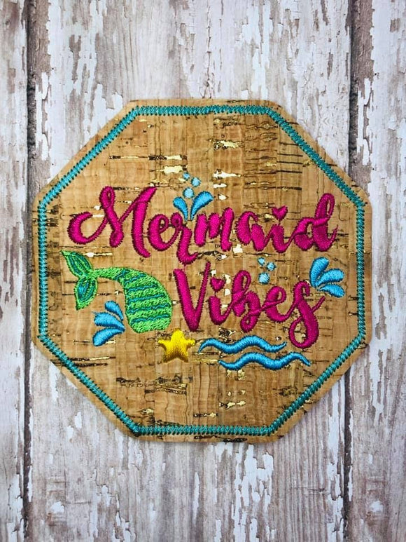 ITH Digital Embroidery Pattern for Mermaid Vibes Coaster, 4x4 hoop