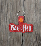 ITH Digital Embroidery Pattern for Bat out of Hell Snap Tab / Key Chain, 4x4 hoop