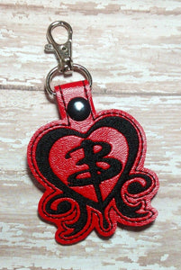 ITH Digital Embroidery Pattern for Buffy The Vampire Slayer Heart Snap Tab / Key Chain, 4x4 hoop
