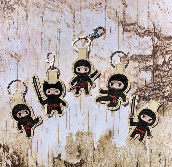 ITH Digital Embroidery Pattern for 5 Ninja Dudes Bundle Pack Snap Tab / Key Chain, 4x4 hoop