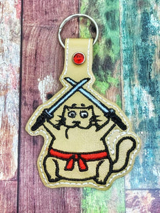 ITH Digital Embroidery Pattern for Ninja Fat Cat Snap Tab / Key Chain, 4x4 hoop