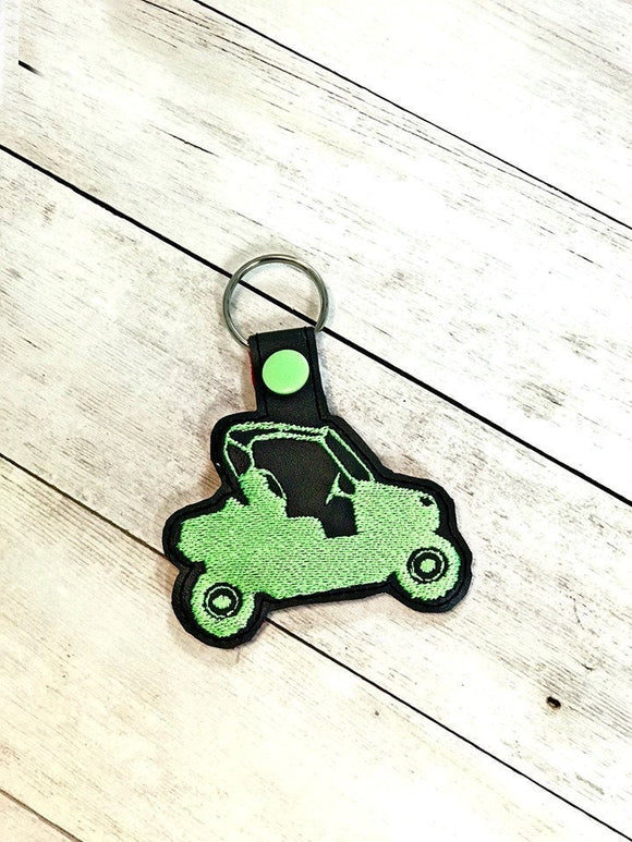 ITH Digital Embroidery Pattern for ATV Utility Side By Side Snap Tab / Key Chain, 4x4 hoop